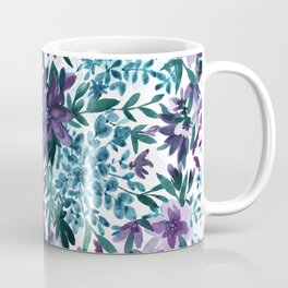Watercolor Floral - Moonlight Garden Purple Blue Green Flowers Coffee Mug