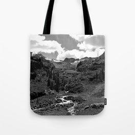chairlift river kaunertal alps tyrol austria europe black white Tote Bag