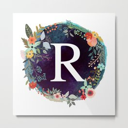 Personalized Monogram Initial Letter R Floral Wreath Artwork Metal Print