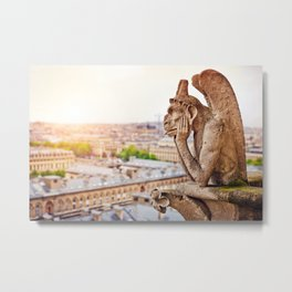 Thinking figure Chimera or Gargoyle in Paris, France, Basilica of Notre Dame Metal Print