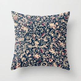 Navy Garden - floral doodle pattern in cream, dark red & blue Throw Pillow