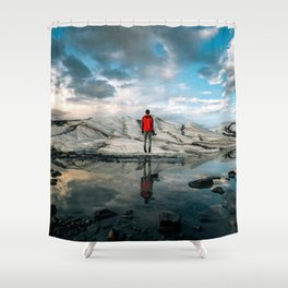 LEVITATE RED Shower Curtain