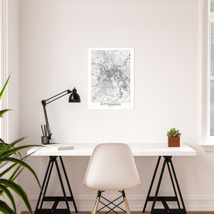 Pittsburgh White Map Poster