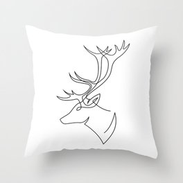Deer line Throw Pillow