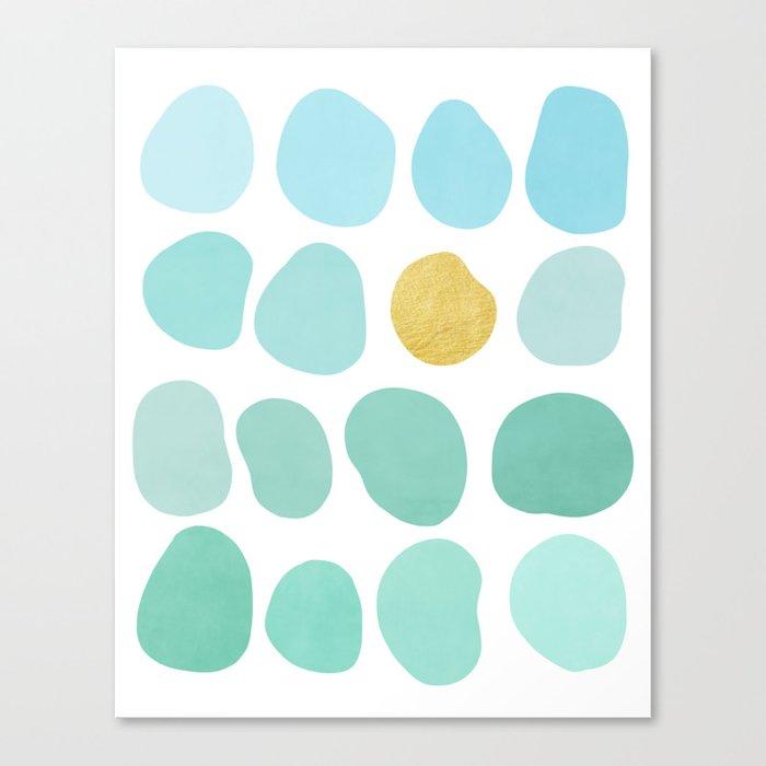 Aqua Pebbles & gold Leinwanddruck