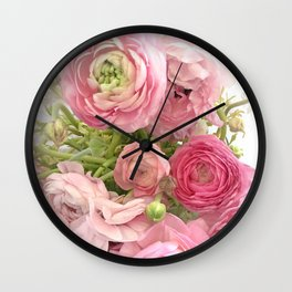 Shabby Chic Cottage Ranunculus Peonies Roses Floral Print & Home Decor Wall Clock