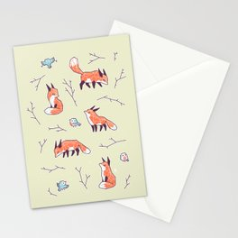 Fox and Bird Pattern Stationery Cards