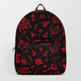 Cozy Hygge Elements in Red + Black Backpack