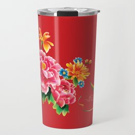 chinese peonies and phoenix Travel Mug