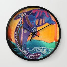 Fantastic animal - Little dolphin - by LiliFlore Wall Clock