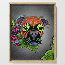 Boxer in Fawn - Day of the Dead Sugar Skull Dog Serving Tray