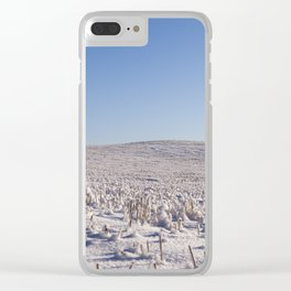 Snow covered field Clear iPhone Case