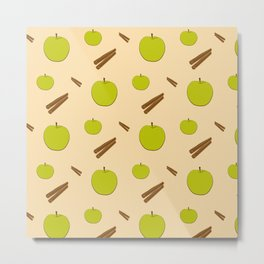 Sweet pattern with apple and cinnamon Metal Print