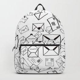 Snail Mail: Sketchy Black & White Stationery Illustrative Pattern Backpack