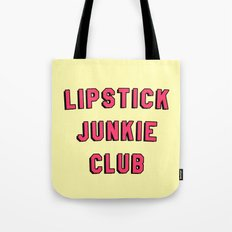 Lipstick Junkie Club | Makeup Graphic Text Only Print Tee T-Shirt Tote Bag