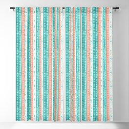 Baltic Bohemian Pattern - Teal Coral Blackout Curtain