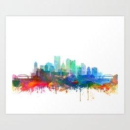 Pittsburgh City Skyline Watercolor by zouzounioart Art Print