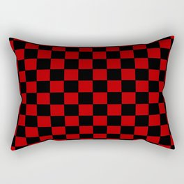 Checkers - Black and Red Rectangular Pillow