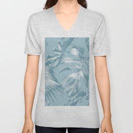 Island Dream Teal Palm Leaves Unisex V-Neck