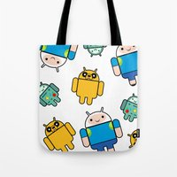 android Tote Bags featuring Android time by DeLaEmme