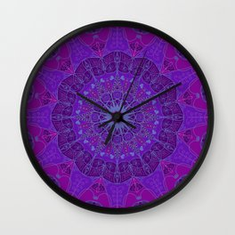 Mandala art drawing design purple fuchsia periwinkle Wall Clock