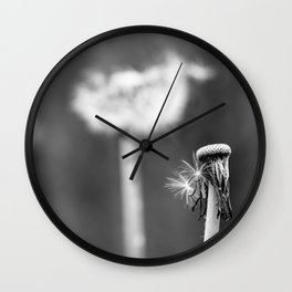 Monochromatic dandelion Wall Clock