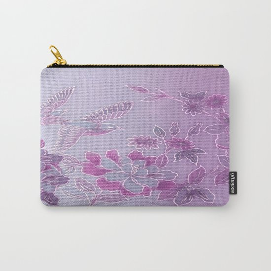 Vintage Birds And Flowers – Lavender and Purple Carry-All Pouch