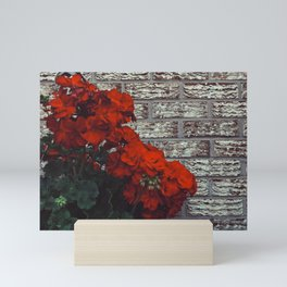 Red bricks red flowers Mini Art Print
