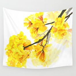 yellow trumpet trees watercolor yellow roble flowers yellow Tabebuia Wall Tapestry