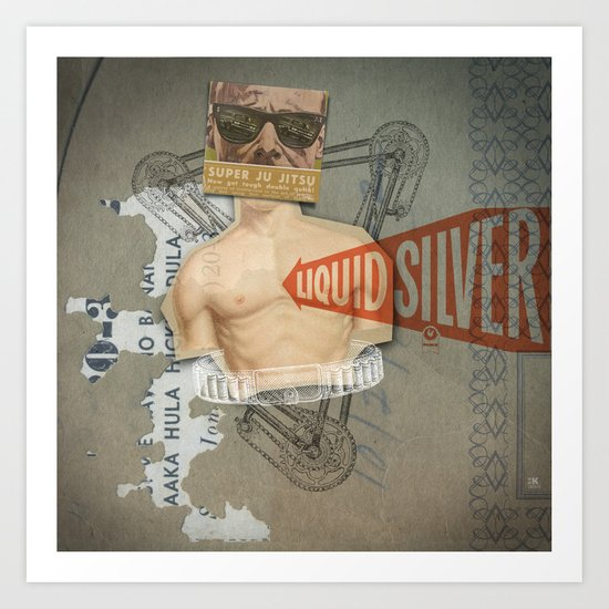 Super Ju Jitsu Liquid Silver Art Print