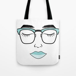 Teal Lips Tote Bag