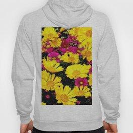 FUCHSIA PINK GARDEN YELLOW COREOPSIS FLOWERS Hoody