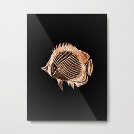 Fish nautical coastal in black background Metal Print