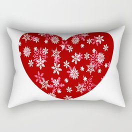 Red Heart Of Snowflakes Loving Winter and Snow Rectangular Pillow