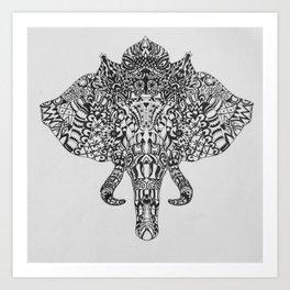 Tribal Elephant Head Art Print