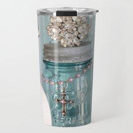 Vintage Mason Jars Shabby Chic Cottage Jeweled Decor Travel Mug