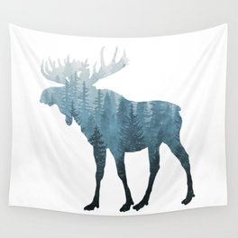Misty Forest Moose Wall Tapestry