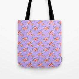 Orange lilac green watercolor hand painted peonies floral Tote Bag