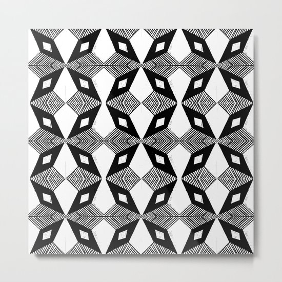 Linocut printmaking pattern black and white scandinavian scandi hipster cute geometric art Metal Print