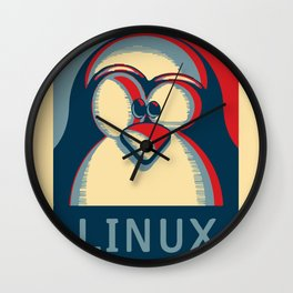 Linux tux penguin obama poster logo Wall Clock