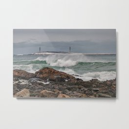 Green waves with twin lights Metal Print