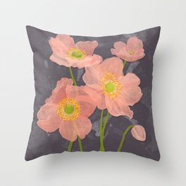 Japanese Anemones Throw Pillow