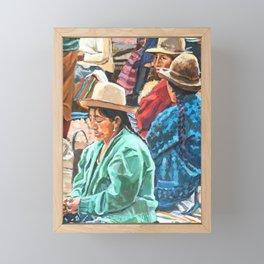 Peruvian Women At Market Framed Mini Art Print