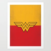 dc comics Art Prints featuring Wonder Logo Woman Minimalist Art Print DC Comics by The Retro Inc