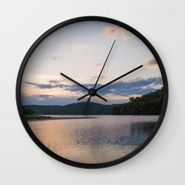 Sunrise Over Lake   Nature Landscape Photography of Pink Blue Sky Sunrise over Lake and Mountains Wall Clock