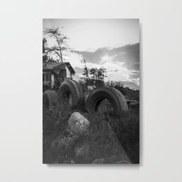 Countryside landscape photo in black and white Metal Print