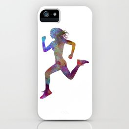 woman runner running jogger jogging silhouette 01 iPhone Case