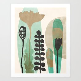 Abstract Botanical - Sea Green Art Print