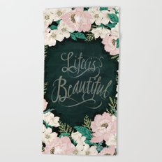 Floral design illustration / pink / Roses Flowers and Message Beach Towel