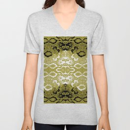 Snake skin scales texture. Seamless pattern black yellow gold white background. simple ornament Unisex V-Neck